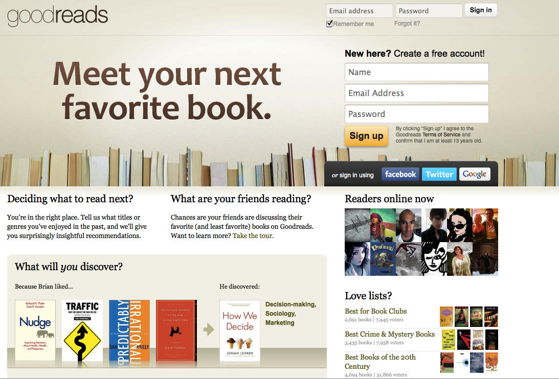 GoodReads.com, un exemple de site utilisant l'Interest Graph.