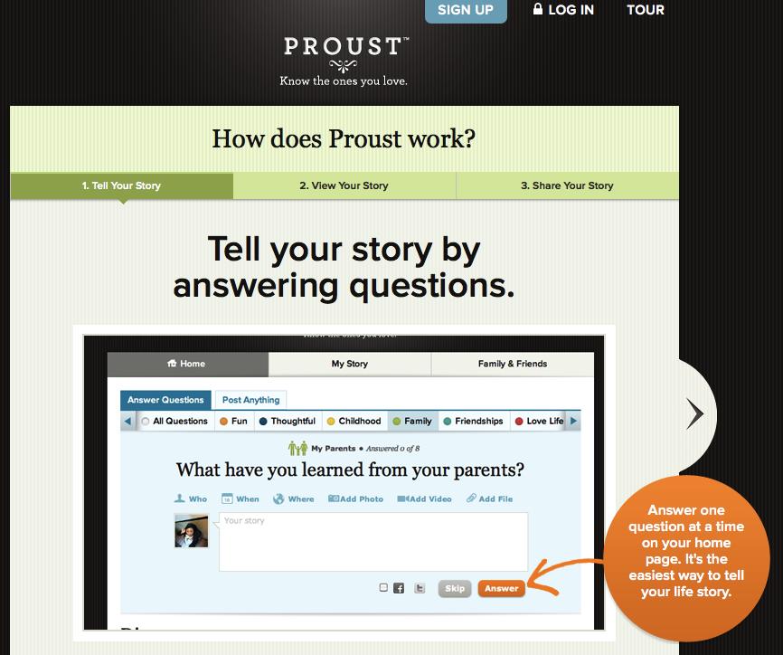 Proust.com, un exemple de site Web utilisant le Personal Graph