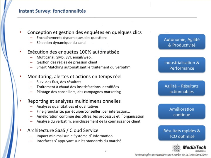 Instant Survey, solution d'EFM multicanal et temps réel.